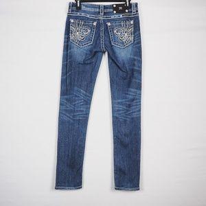 Miss Me Skinny Fleur De Lis Jeans, Med Wash 28